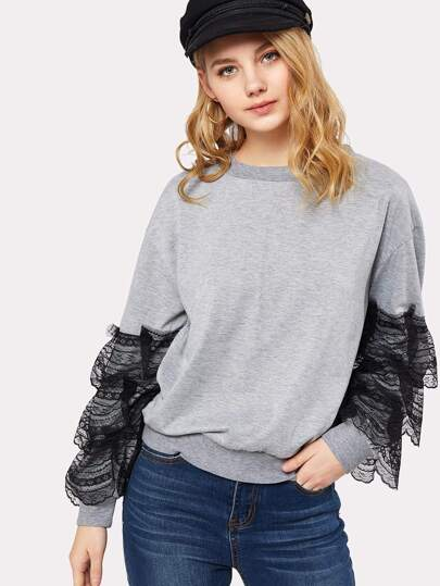 Tiered Lace Trim Marled Pullover