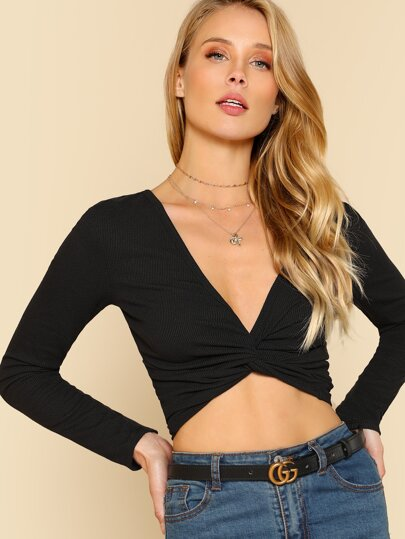 Twist Front Plunging T-shirt