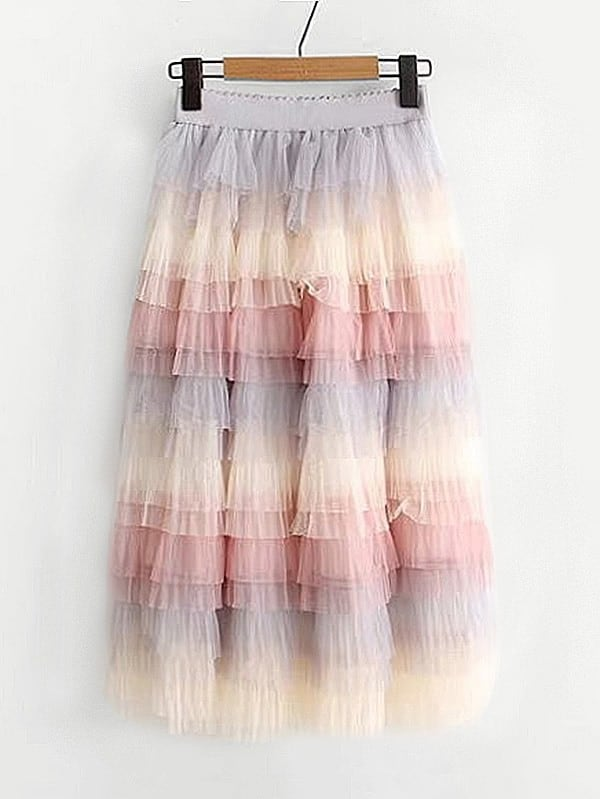 Color Block Tiered Mesh Skirt