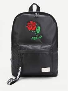 Rose Embroidery PU Backpack