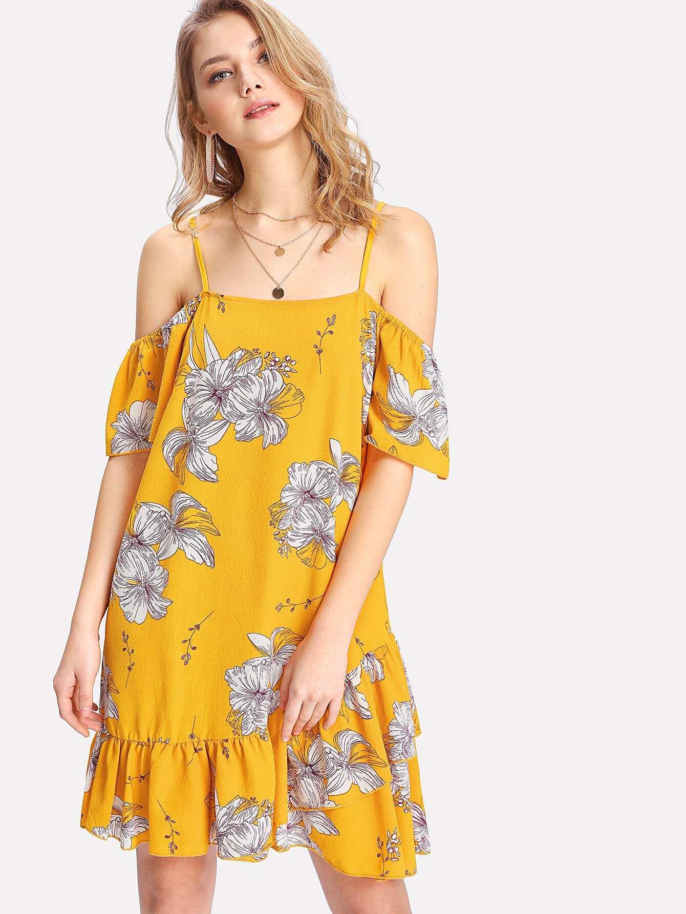 Open Shoulder Tiered Ruffle Hem Dress patchwork print tiered hem halter dress