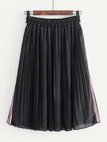 Falda plisada de rayas laterales