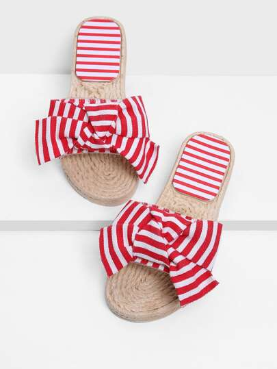 Bow Decor Striped Sandals
