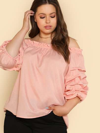 Off Shoulder Ruffle Puff Sleeve Top BLUSH