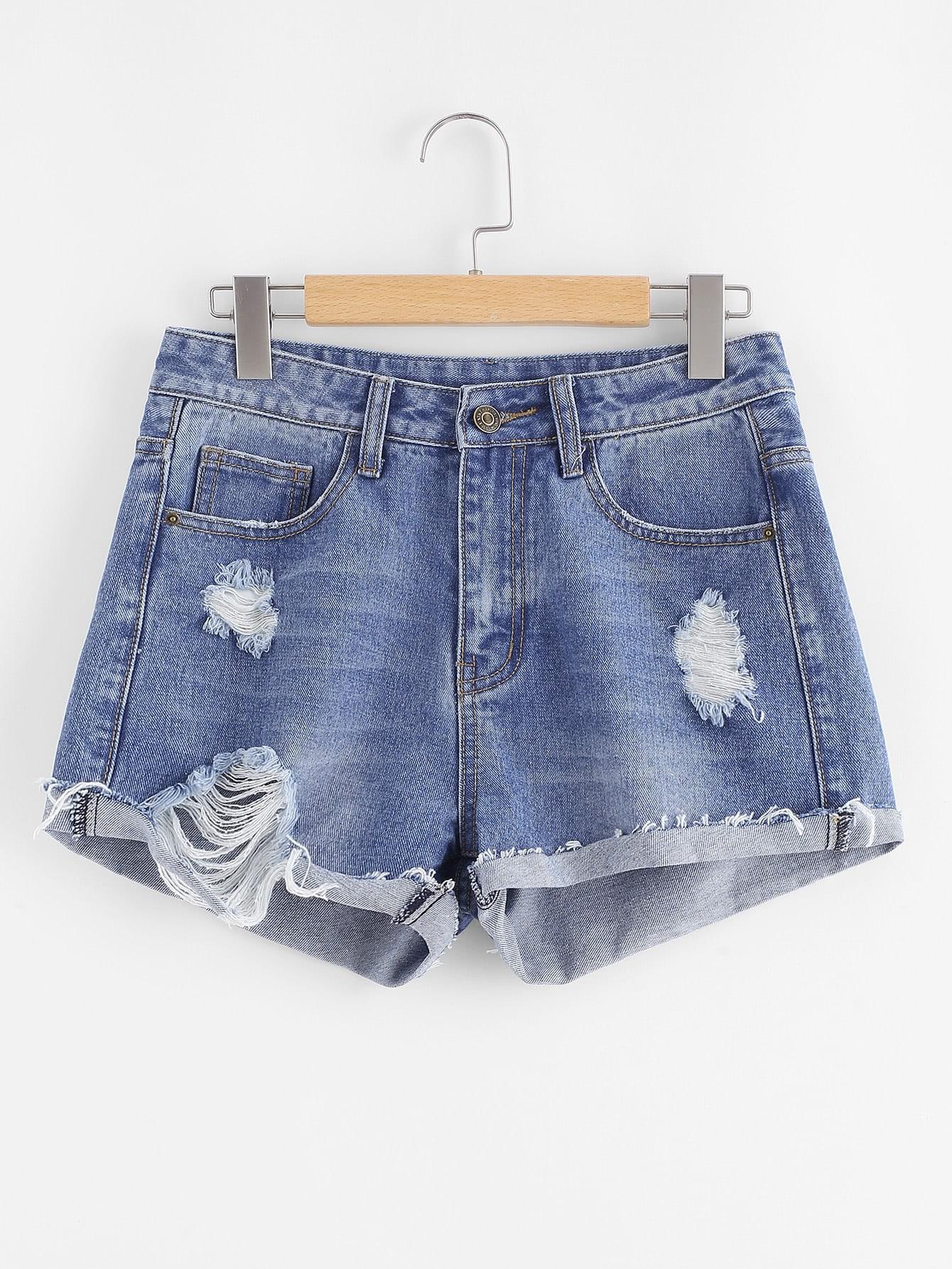 Cuffed Shredded Denim Shorts frill trim cuffed denim shorts