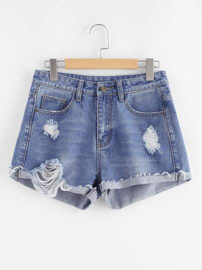 Cuffed Shredded Denim Shorts