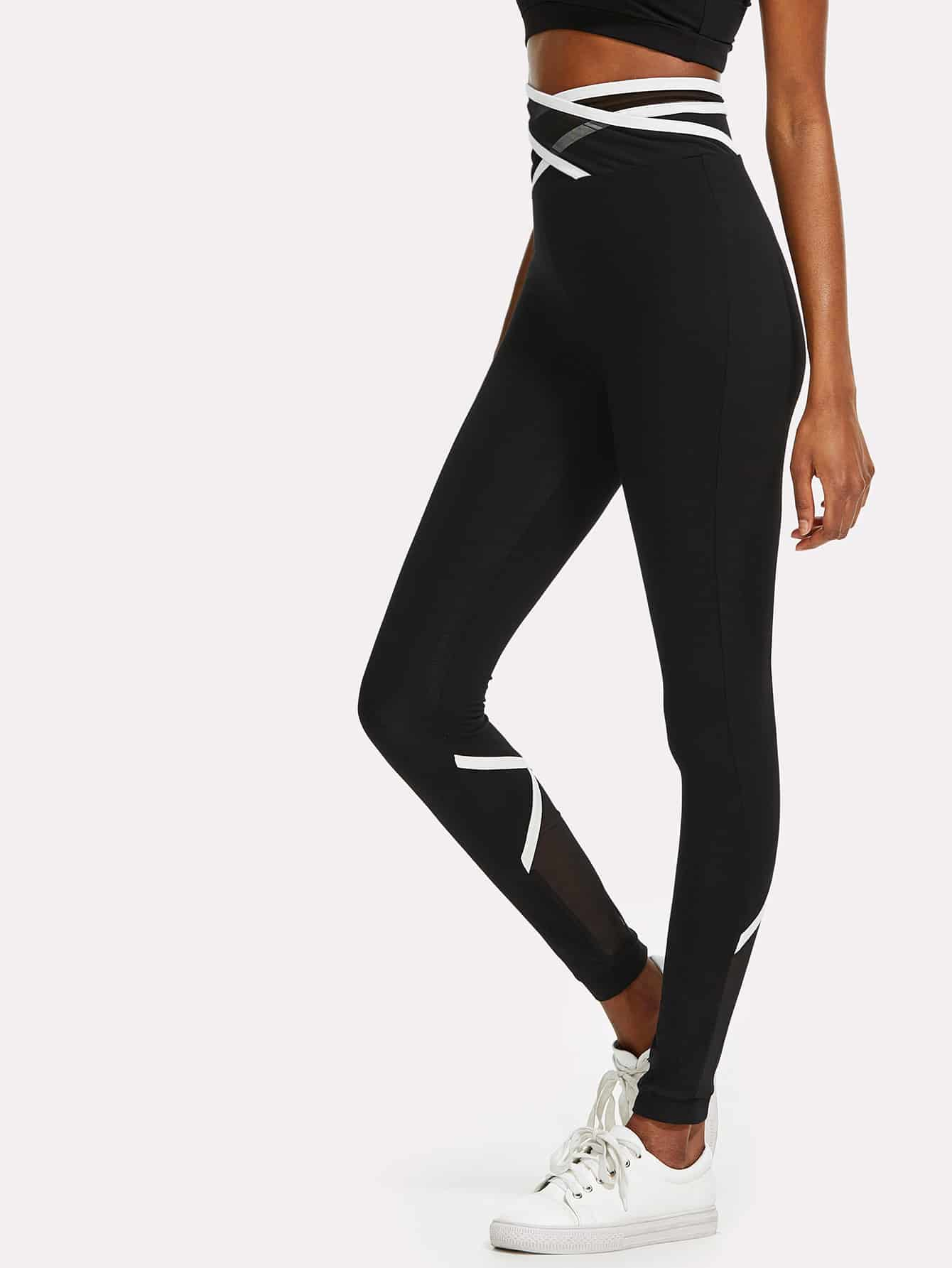 Crisscross Mesh Waist And Back Leggings