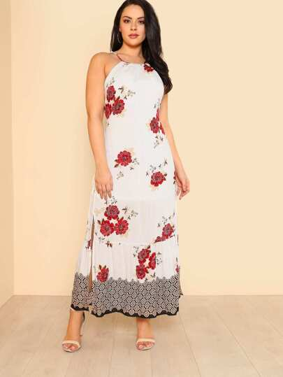 Floral Print Self Tie Shoulder Maxi Dress with Slit