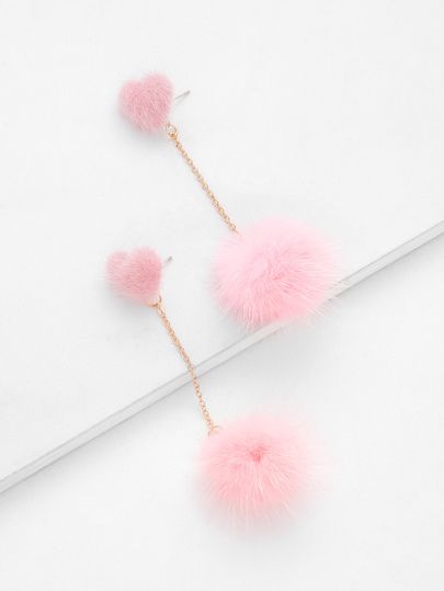 Heart Top Chain Pom Pom Drop Earrings