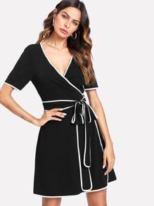Contrast Binding Wrap Dress
