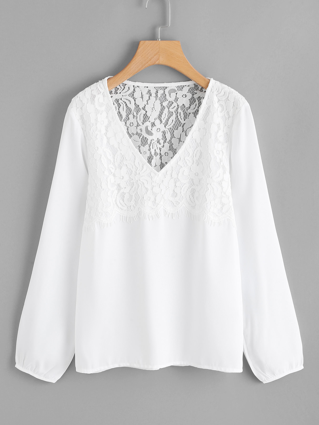 Floral Lace Panel Top lace panel yoke top