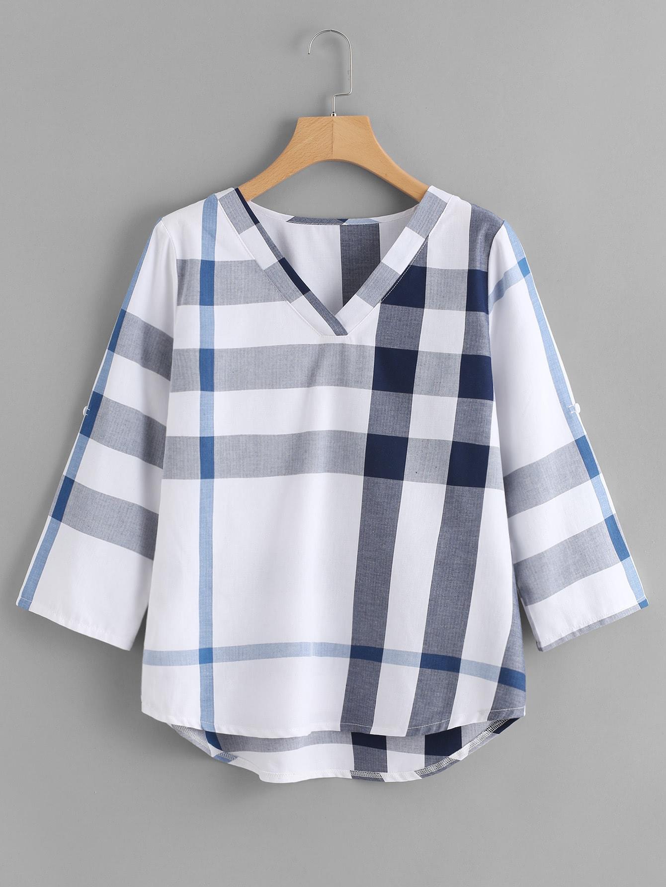 High Low Curved Hem Plaid Blouse curved hem plaid blouse