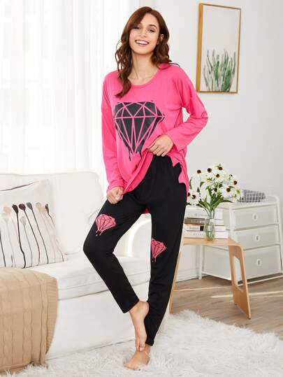 Split Side Tee & Pants PJ Set