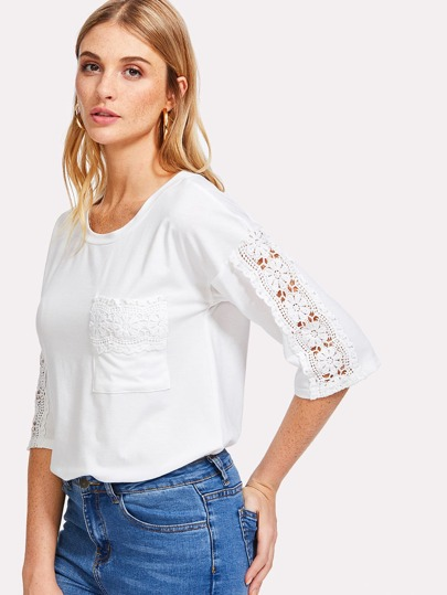 Lace Patch Pocket Solid Tee