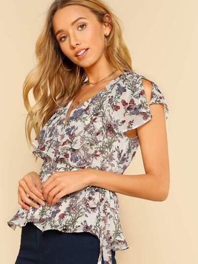 Floral Print Ruffle Detail Wrap Blouse WHITE