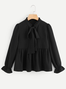 Frill Trim Tie Neck Babydoll Blouse