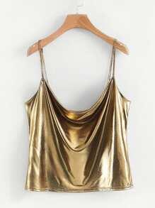 Draped Metallic Cami Top