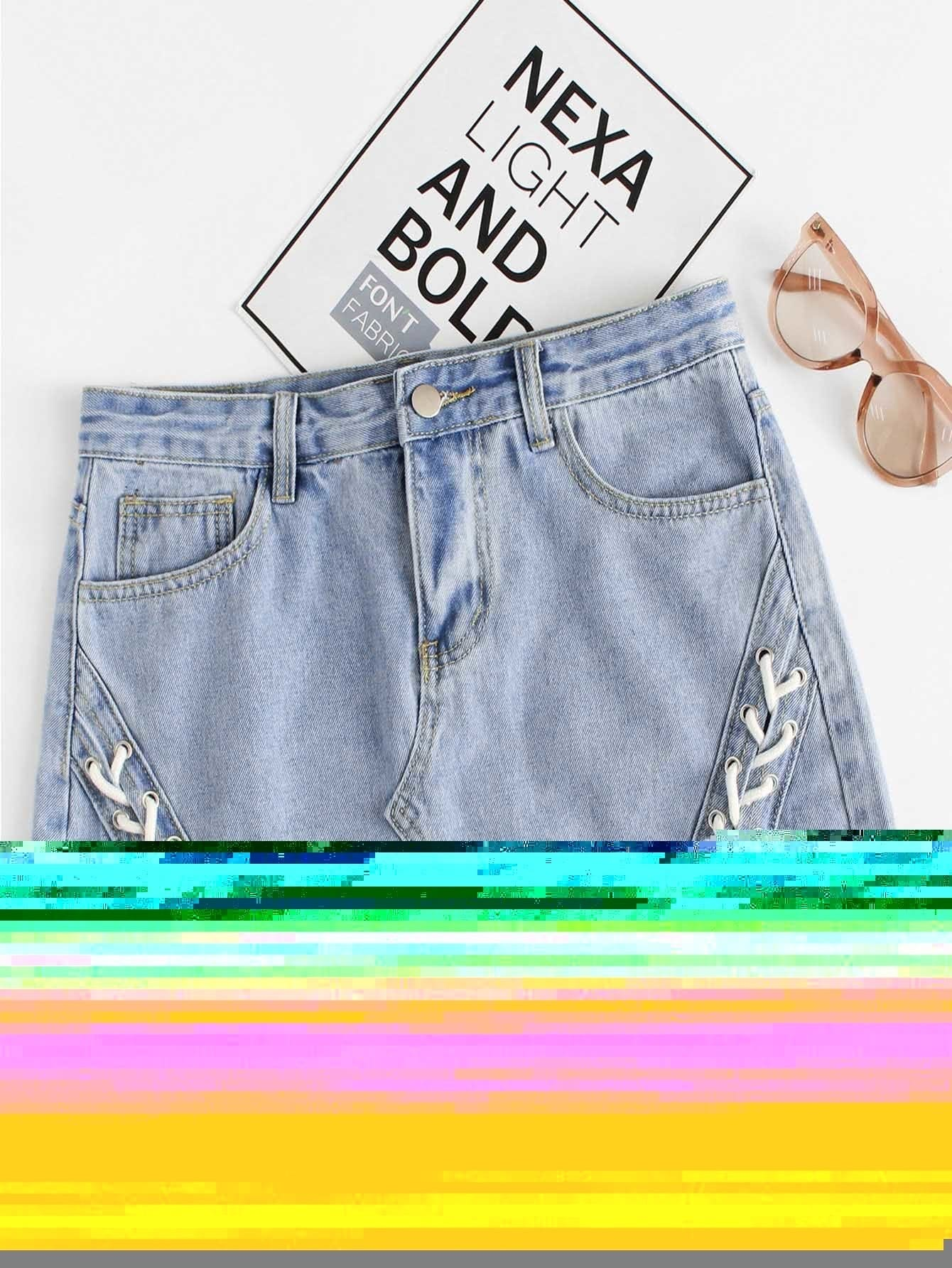 Lace Up Raw Hem Denim Skirt