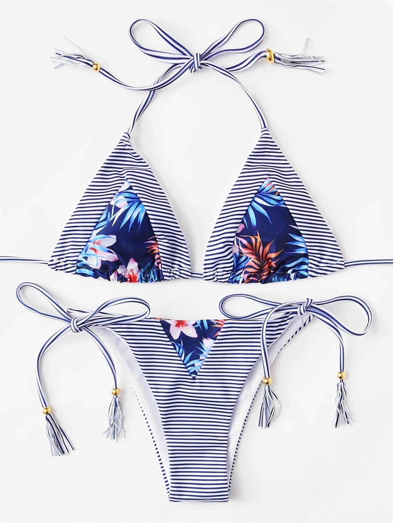 Купить Модный купальник-бикини в полоску с бахромой, null, SheIn