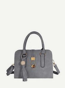 Tassel Detail PU Shoulder Bag
