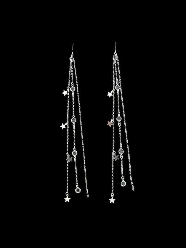 Silver Multi Layers Chain Rhinestone Super Long Earrings rhinestone ball hook long chain earrings
