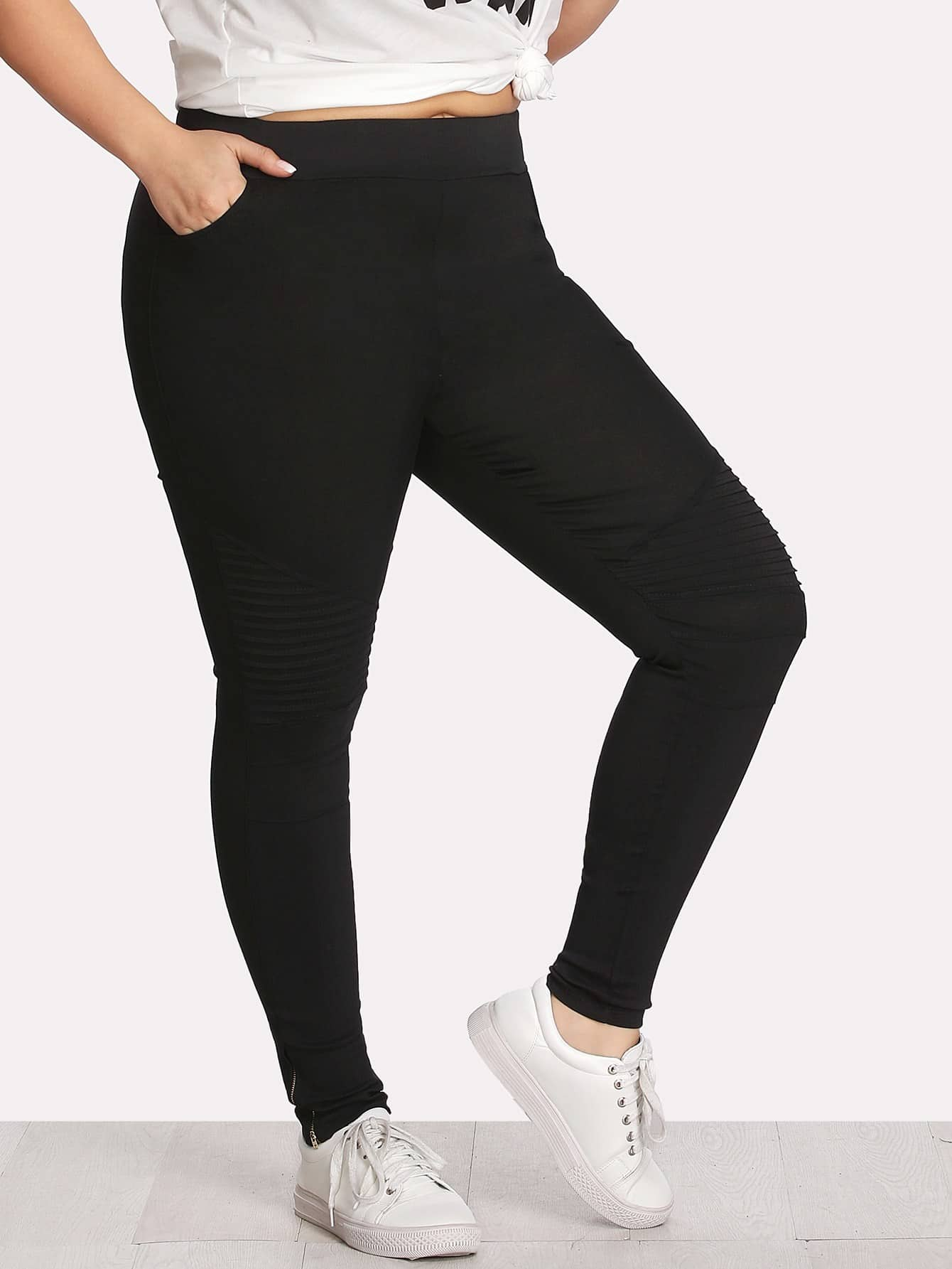 Zip Detail Skinny Pants zip back skinny pants