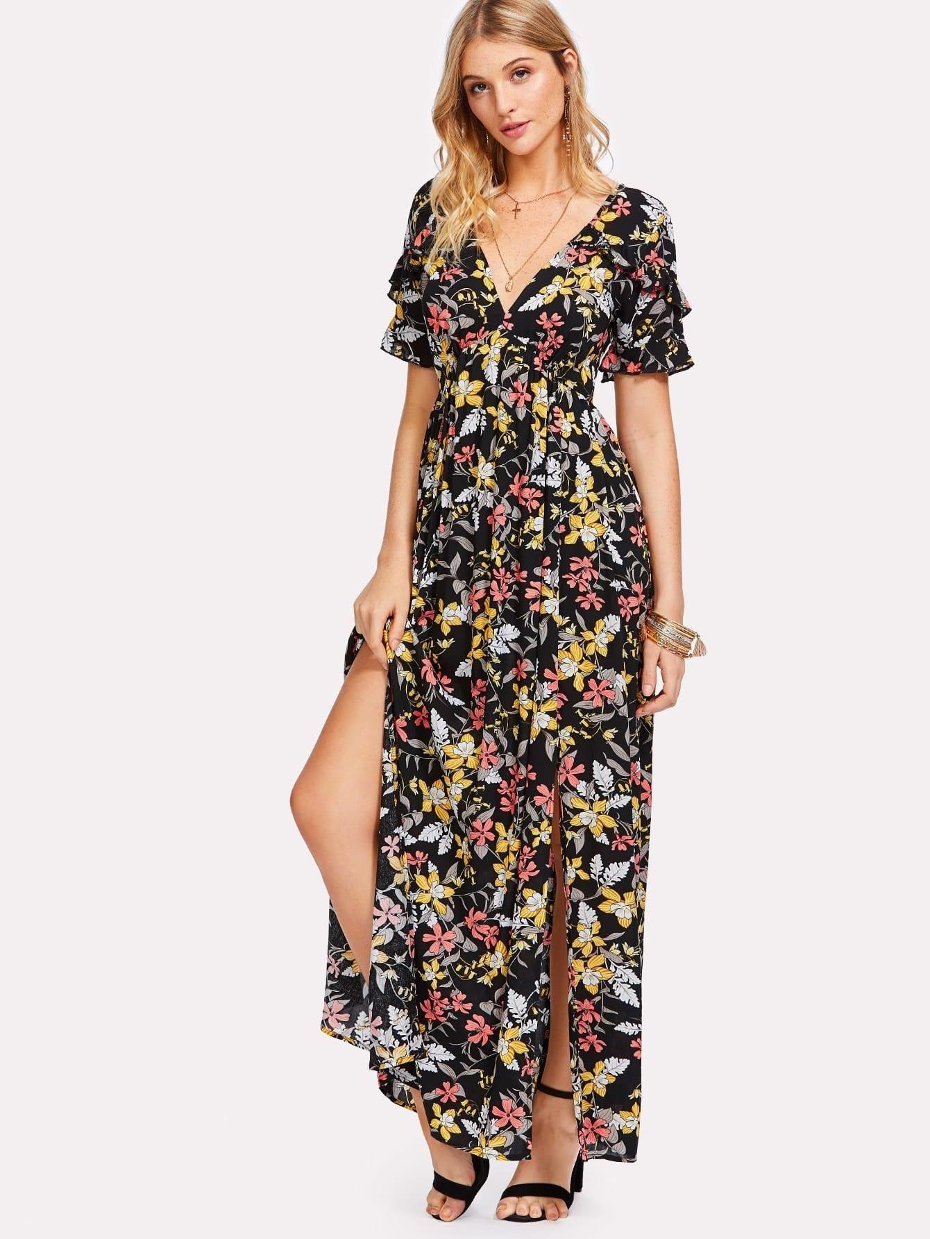 Ruffle Trim Plunge Neck Floral Dress lace trim plunge neck jumper
