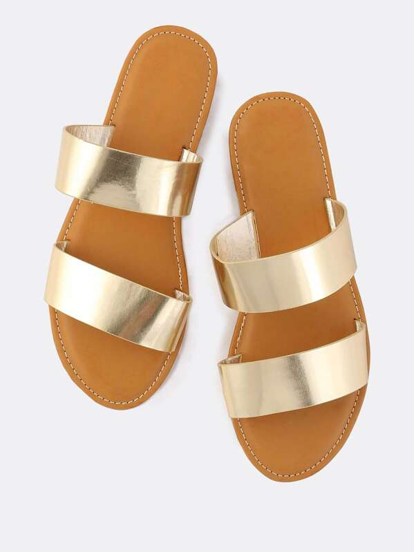 Metallic Duo Strap Sandals GOLD, null
