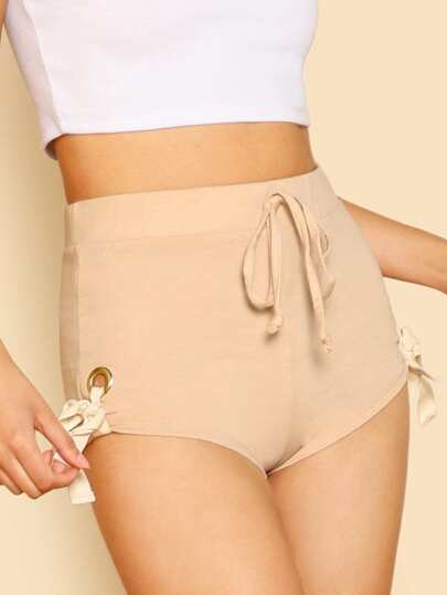 Lace Up Side Shorts TAN