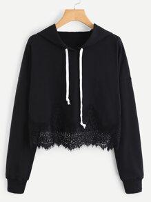 Lace Trim Drawstring Hoodie