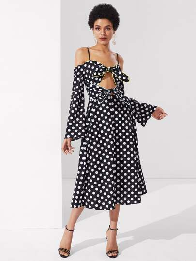 Knot Front Cold Shoulder Polka Dot Dress