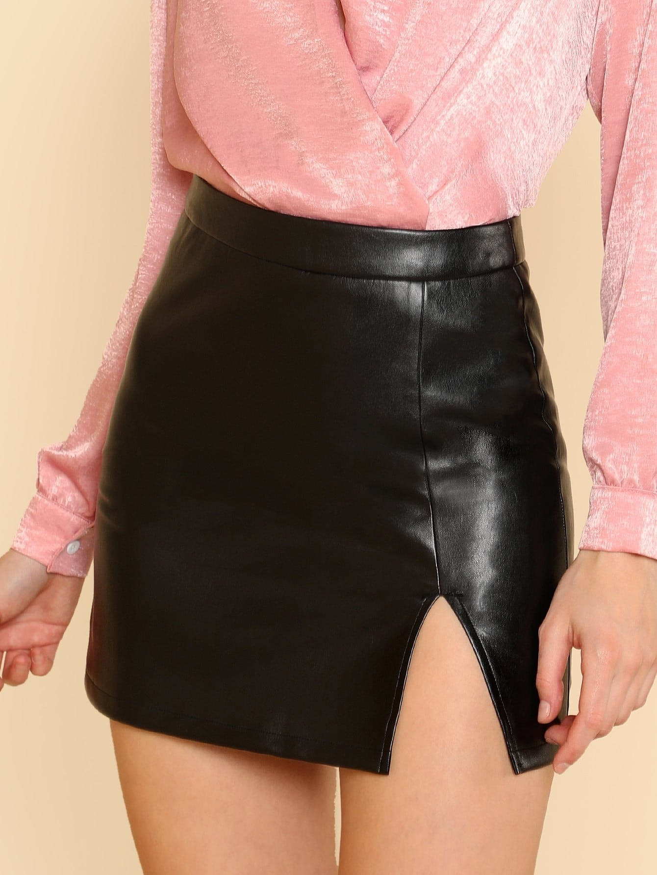 Split Front Faux Leather Skirt split front wales check skirt