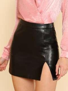 Split Front Faux Leather Skirt