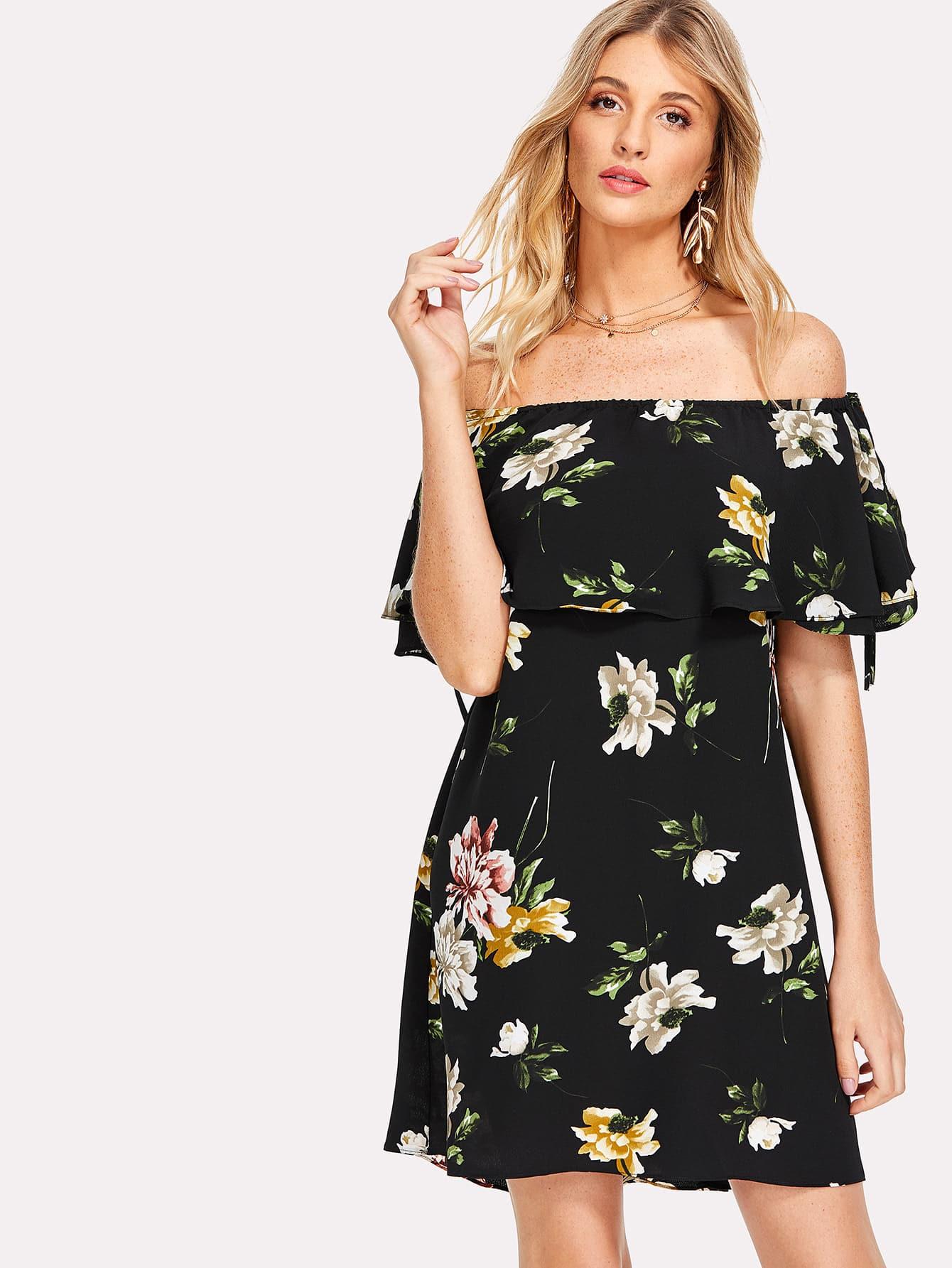 Floral Flounce Bardot Dress floral flounce bardot dress