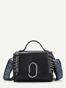 Ring Detail PU Shoulder Bag With Embroidered Strap