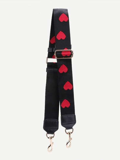 Heart Embroidered Nylon Bag Strap