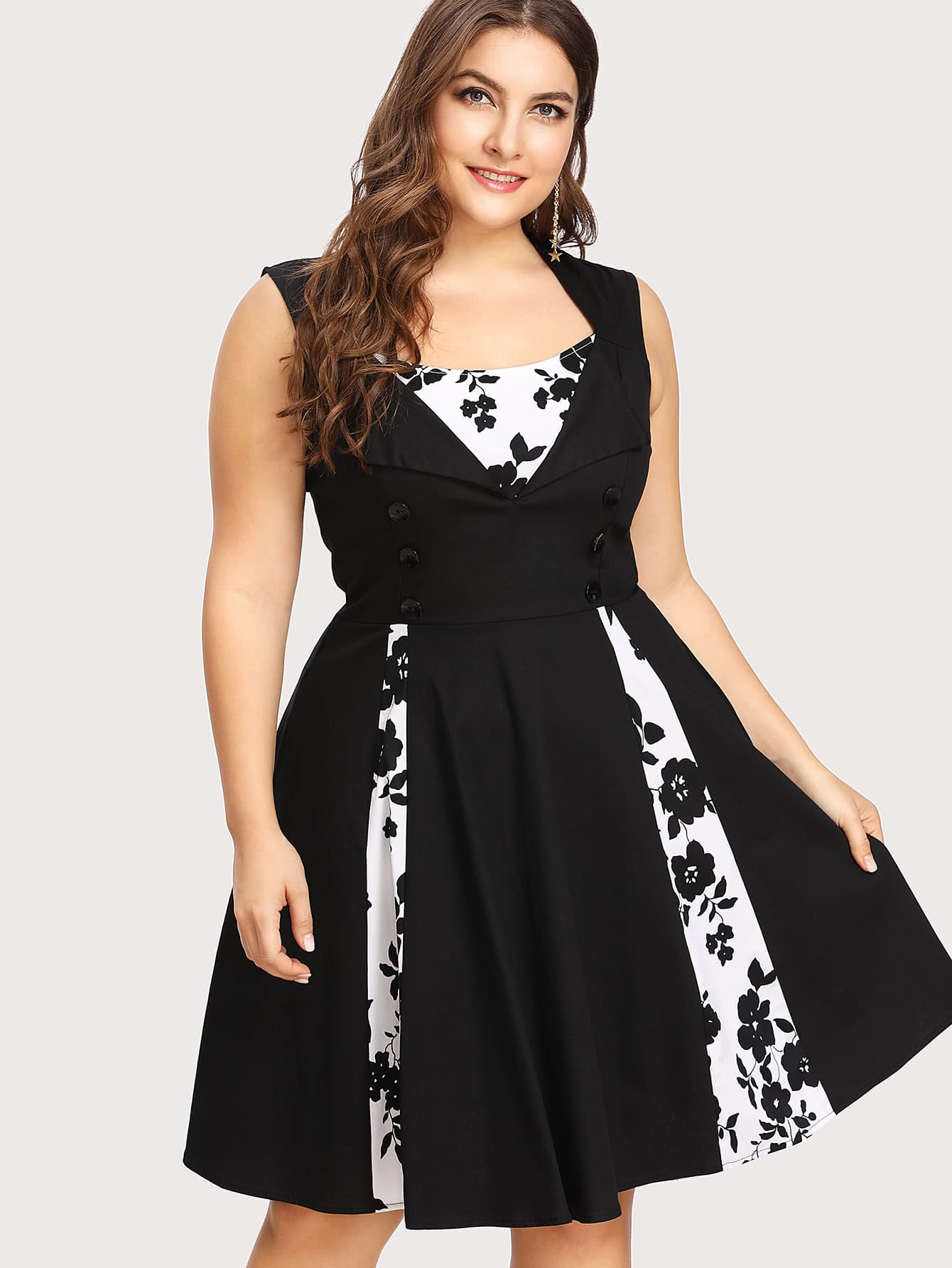 Plus Contrast Panel Fold Over Detail Circle Dress