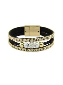 Multilayer Bracelet Wristband With Rhinestone Decoration