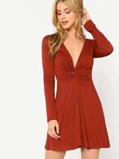Plunge Neck Twist Front Dress