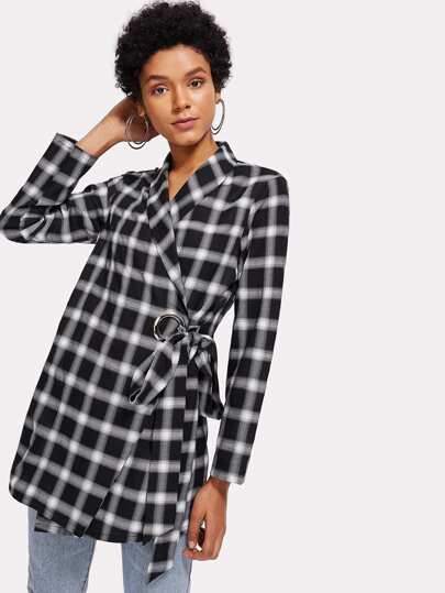 Shawl Collar Plaid Wrap Blazer