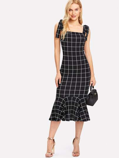 Ruffle Hem Grid Dress With Tied Strap