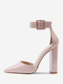Block Heeled Ankle Strap Pumps
