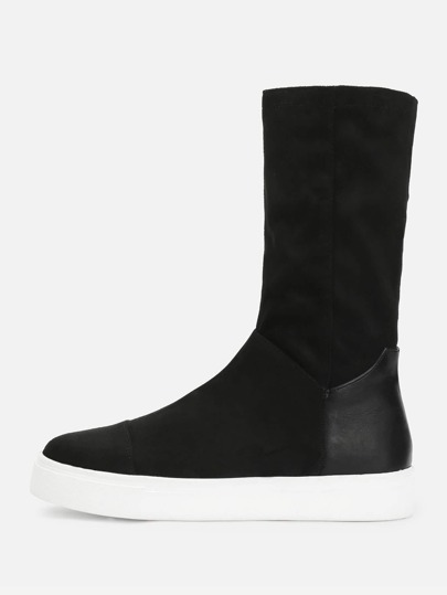 Round Toe Mid Calf Boots