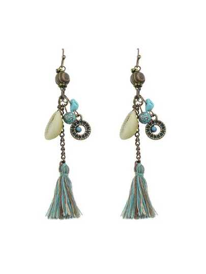 Long Tassel Beads Shell Drop Earrings