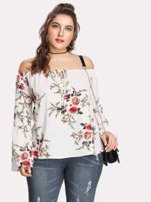 Trumpet Sleeve Tie Front Floral Bardot Top