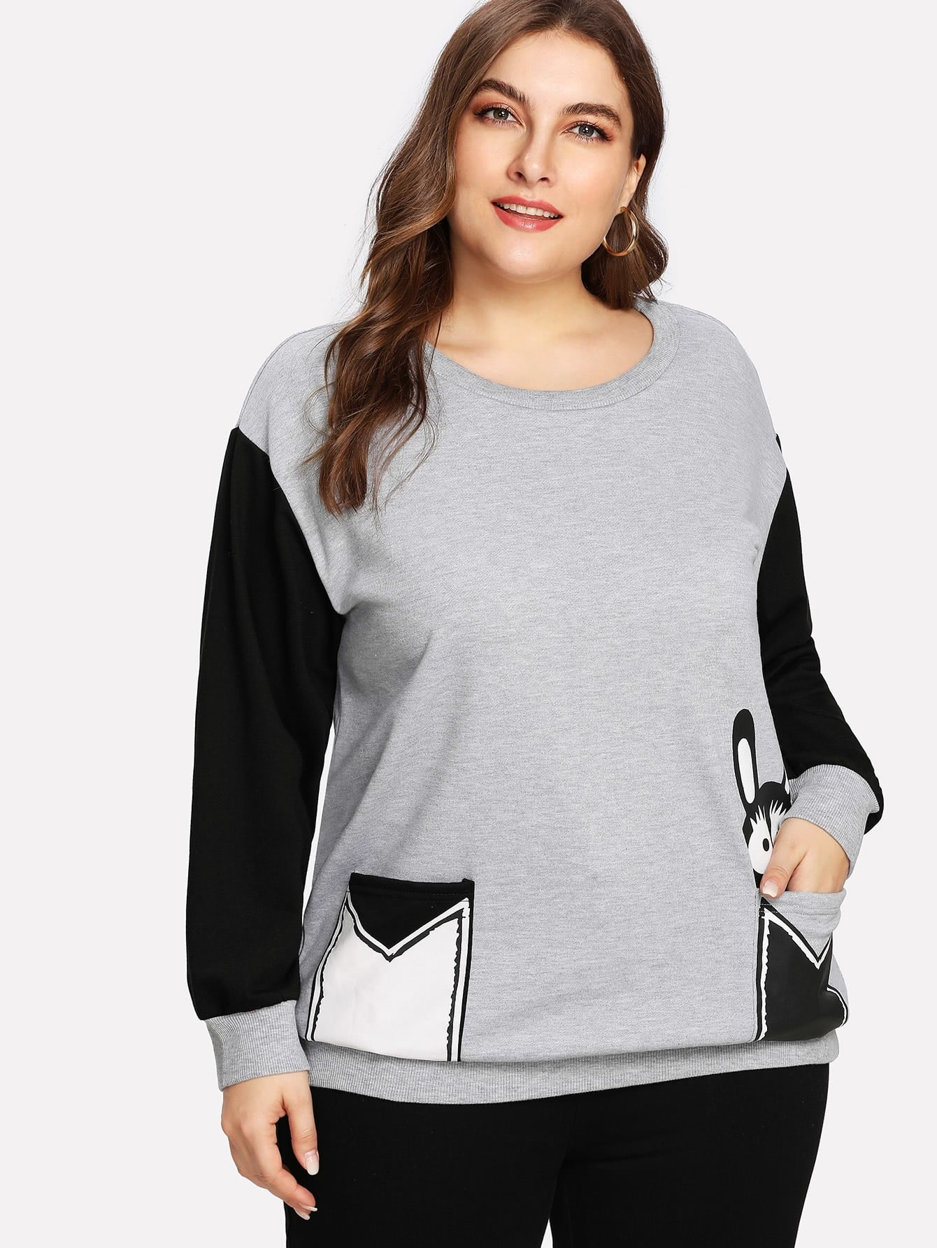 Cut And Sew Cartoon Patched Sweatshirt