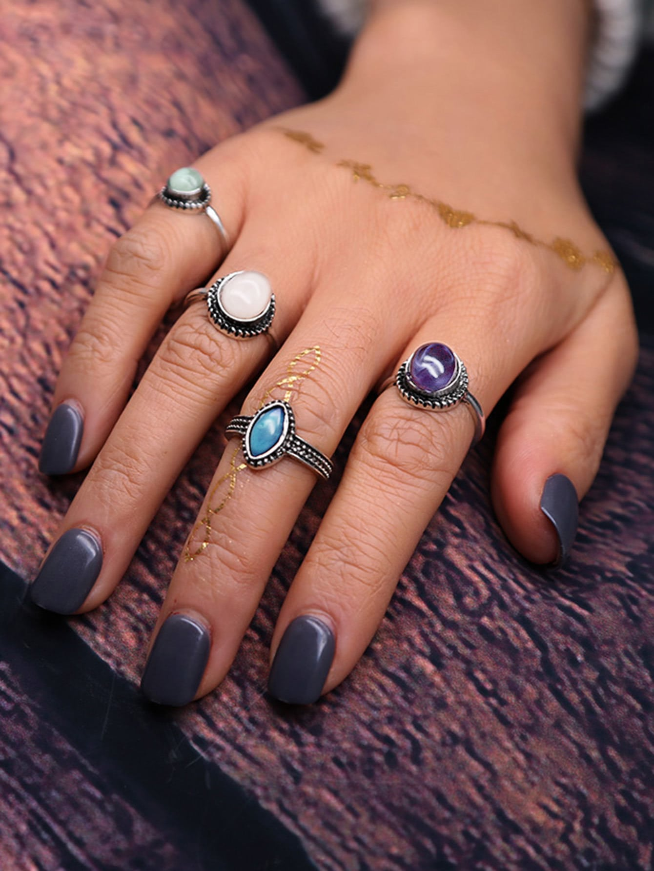 Oval Stone Ring Set 4pcs