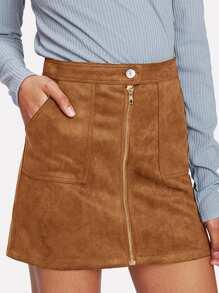 Zip Front Dual Pocket Skirt