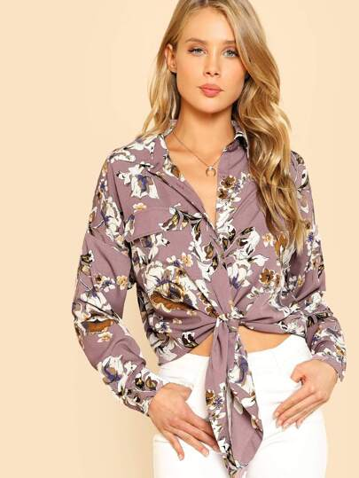 Drop Shoulder Knot Hem Floral Blouse