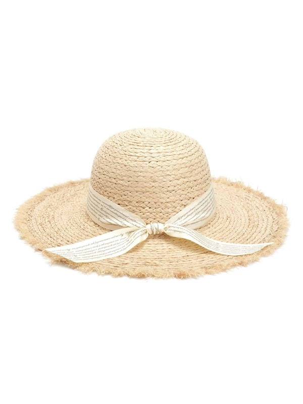 Knot Band Raw Trim Straw Hat by Sheinside